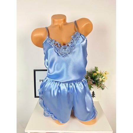Compleu dama pijama bleu pastel din satin