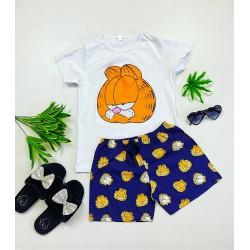 Pijama dama scurta alba cu imprimeu Garfield