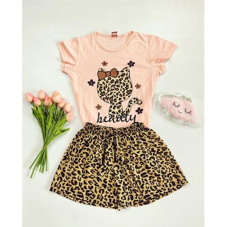 Pijama dama roz scurta cu imprimeu pisi animal print