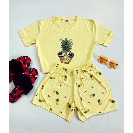 Pijama dama scurta galbena cu imprimeu ananas