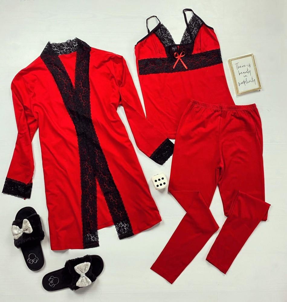 Compleu pijama dama rosu 3 piese: maiou + pantaloni + halat