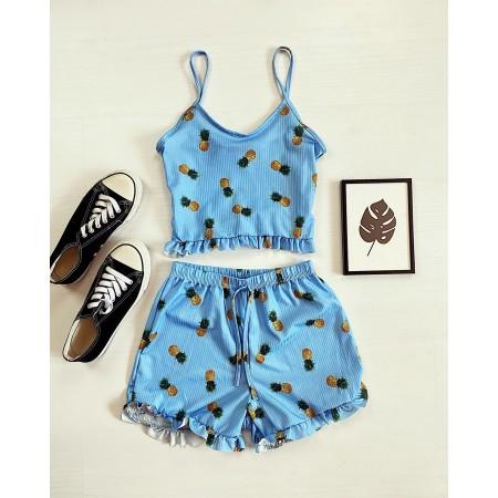 Pijama dama scurta albastra cu imprimeu ananas