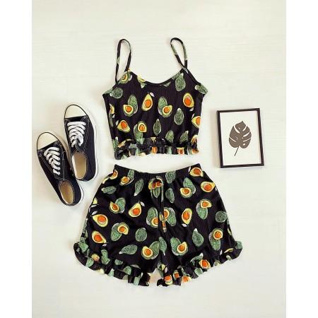 Pijama scurta neagra cu imprimeu avocado si volanase