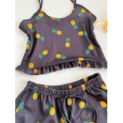 Pijama scurta neagra cu imprimeu ananas cu volanase
