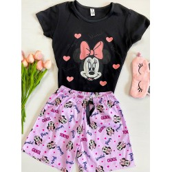 Pijama dama scurta neagra cu imprimeu Minnie