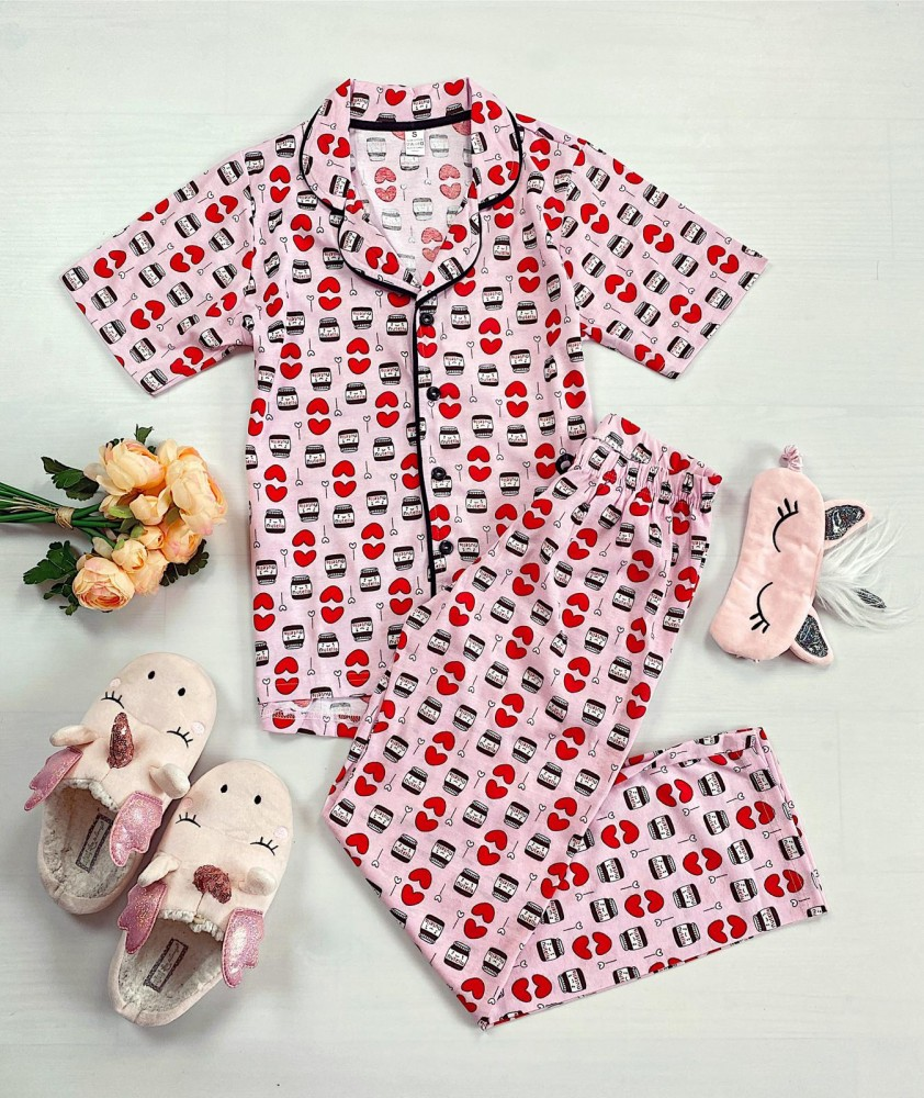 Pijama dama roz cu camasa si imprimeu Nutella