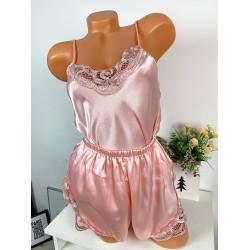 Compleu pijama roz din satin cu dantela