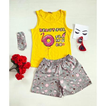 Pijama dama scurta galbena cu imprimeu Flamingo