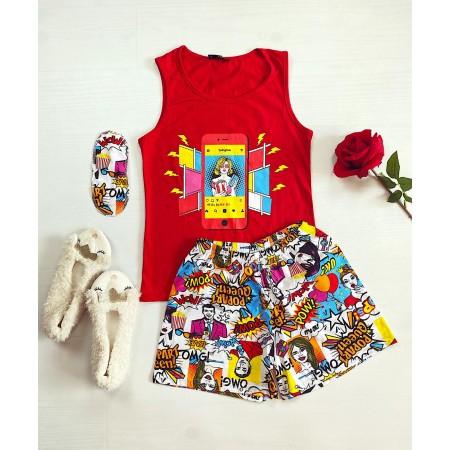 Pijama dama scurta rosie cu imprimeu Insta