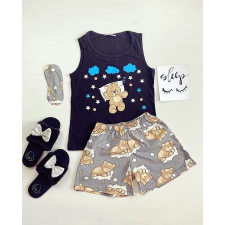 Pijama dama scurta neagra cu imprimeu Ursulet