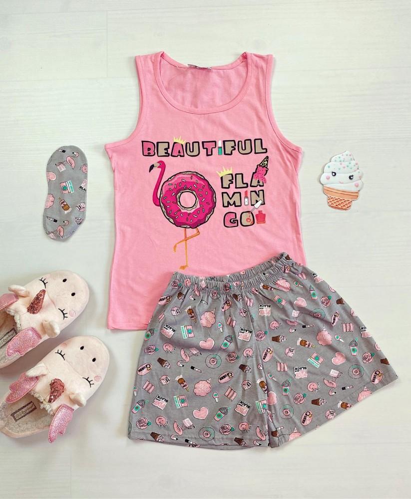 Pijama dama scurta roz cu imprimeu Flamingo