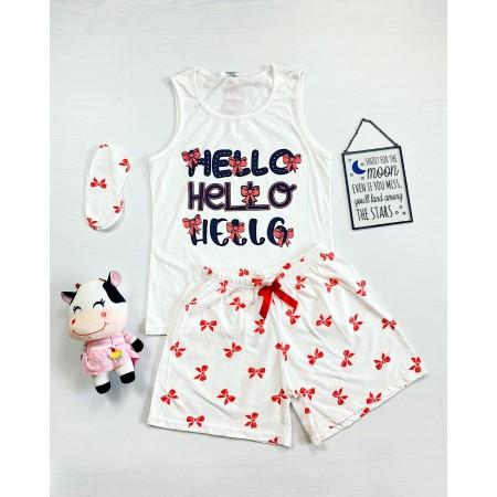Pijama dama scurta alba cu imprimeu Hello