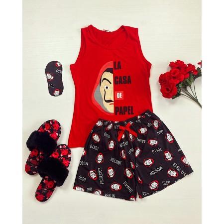Pijama dama scurta rosie cu imprimeu Casa de Papel