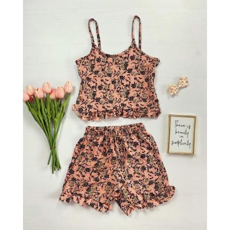 Pijama scurta corai cu volanase Flower