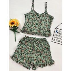 Pijama scurta verde cu volanase Flower