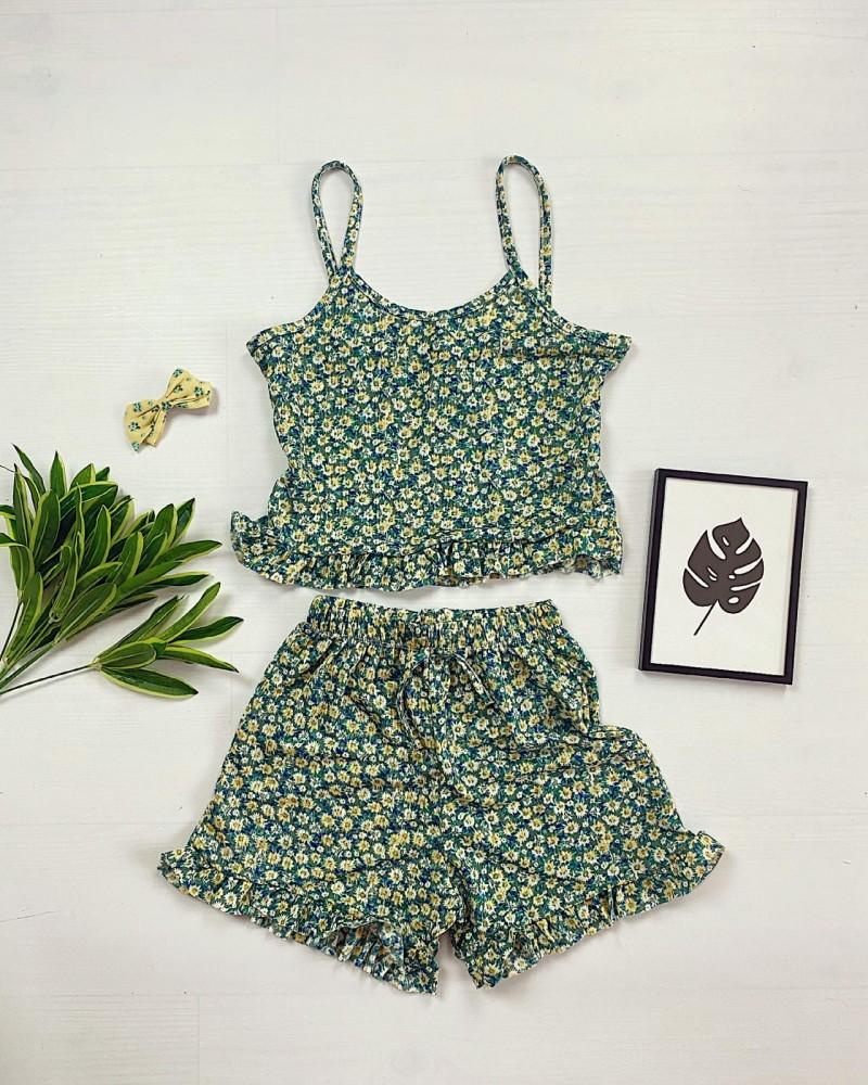 Pijama scurta verde cu volanase Daisy
