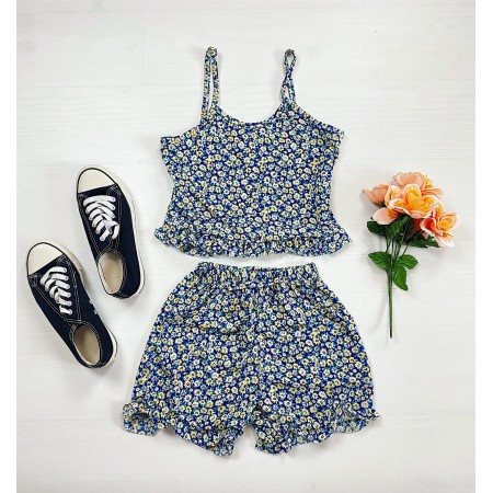 Pijama scurta albastra cu volanase Daisy