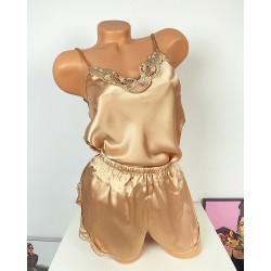 Compleu dama pijama bej auriu din satin
