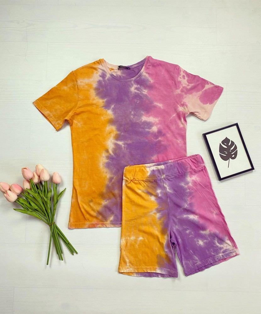 Compleu - Pijama dama scurta multicolora