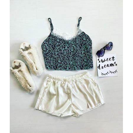 Compleu pijama alba cu imprimeu Turcoaz Animal Print