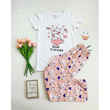 Pijama dama alba lunga cu imprimeu pisicute Bestfriends