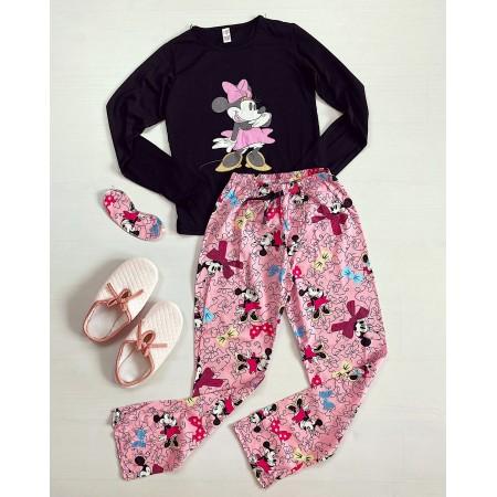 Pijama dama lunga neagra cu imprimeu Minnie