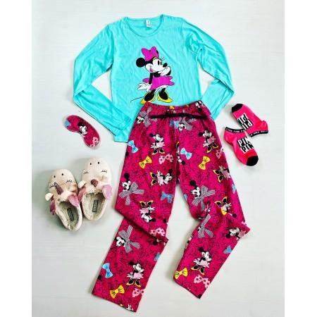Pijama dama lunga turcoaz cu imprimeu Minnie