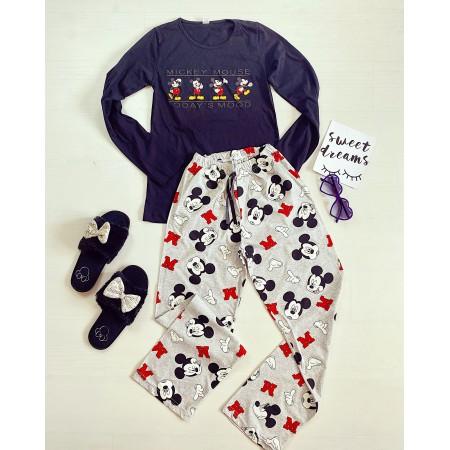 Pijama dama lunga neagra cu imprimeu colorat Multi Mickey