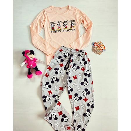 Pijama dama lunga roz cu imprimeu colorat Multi Mickey