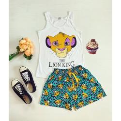 Pijama dama alba scurta cu imprimeu Lion