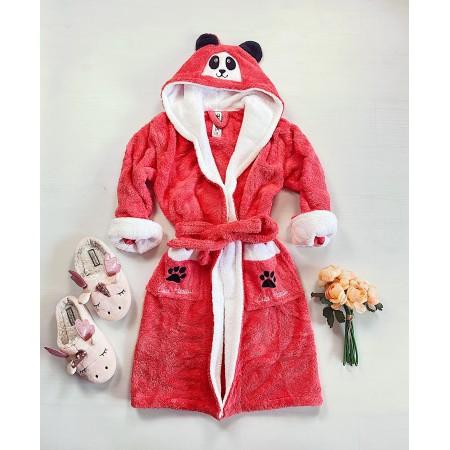 Halat dama roz bombon pufos cu gluga Panda