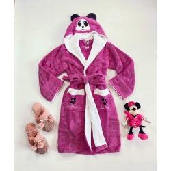 Halat dama mov pufos cu gluga Panda