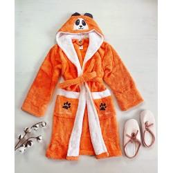 Halat dama portocaliu pufos cu gluga Panda