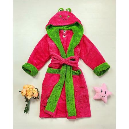 Halat dama roz cu verde pufos cu gluga Broscuta