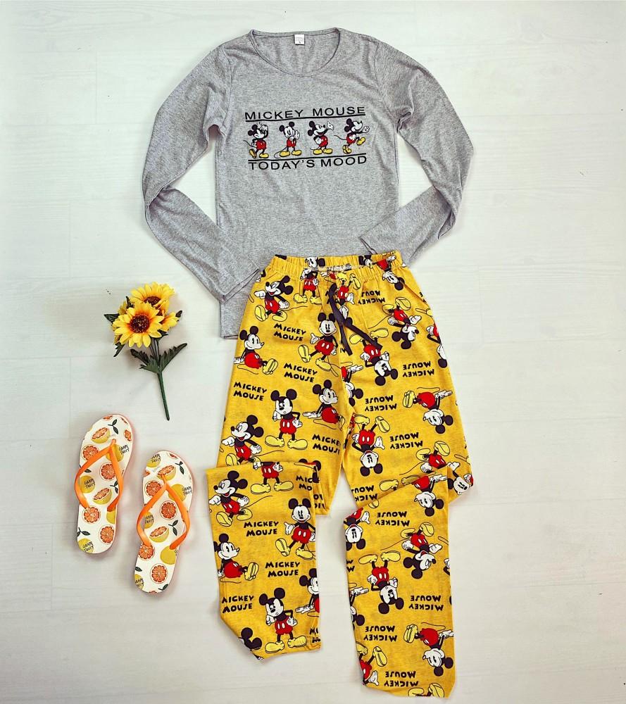 Pijama dama gri lunga din bumbac cu imprimeu Mickey