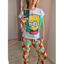 Pijama dama colorata lunga din bumbac cu imprimeu Simpsons