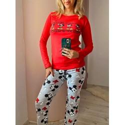 Pijama dama rosie lunga din bumbac cu imprimeu Mickey