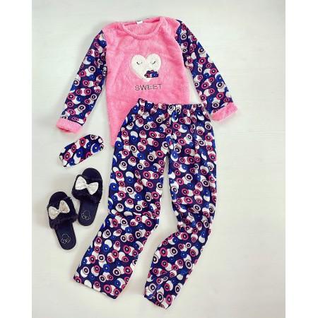 Pijama dama lunga cocolino roz cu imprimeu Sweet