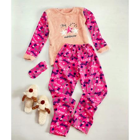 Pijama dama lunga cocolino roz cu imprimeu Love
