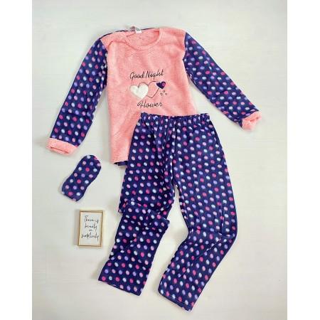 Pijama dama lunga cocolino albastra cu imprimeu roz Dreams