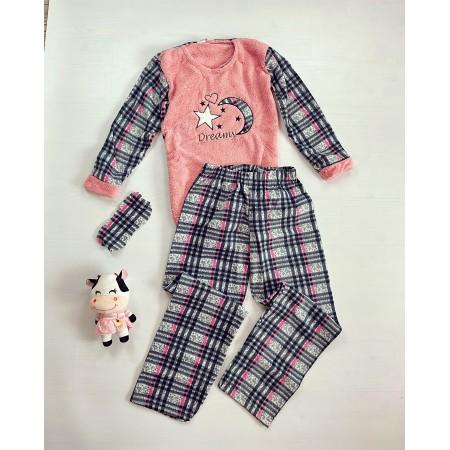 Pijama dama lunga cocolino gri carouri cu imprimeu roz Dreams