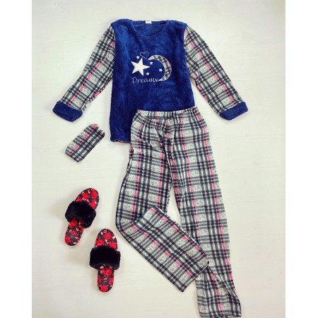 Pijama dama lunga cocolino gri carouri cu imprimeu albastru Dreams