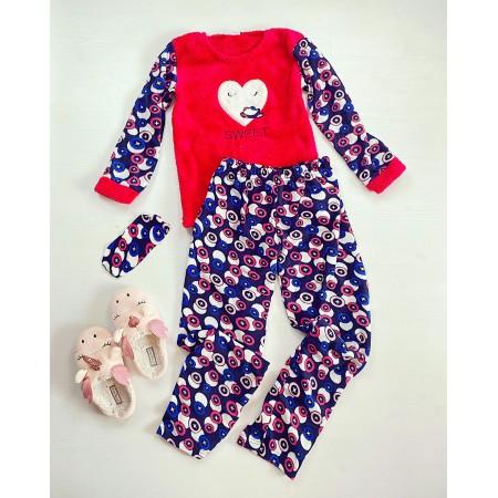 Pijama dama lunga cocolino rosie cu imprimeu albastru Sweet