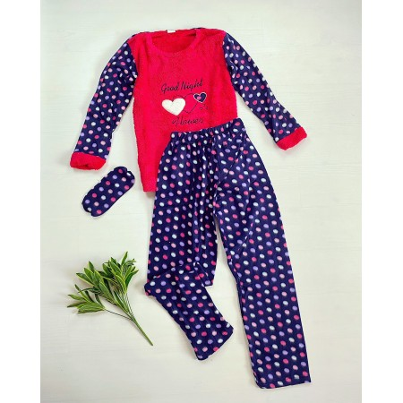Pijama dama lunga cocolino albastra cu imprimeu rosu