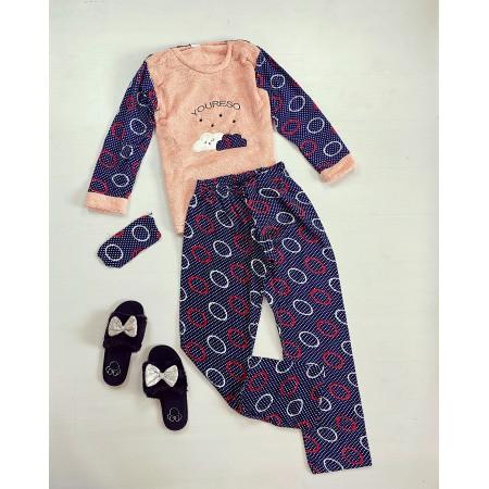 Pijama dama lunga cocolino albastra cu imprimeu Norisori
