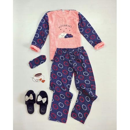 Pijama dama lunga cocolino albastra cu imprimeu roz Norisori