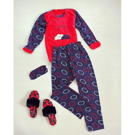 Pijama dama lunga cocolino albastra cu imprimeu rosu Norisori