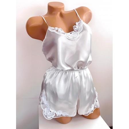 Compleu dama pijama set maiou si pantaloni scurti din satin premium alb