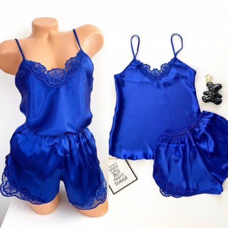 Compleu dama set pijama albastra din satin sexy