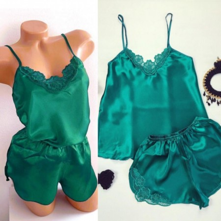 Compleu dama pijama verde din satin sexy